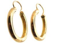 Edwardian 15ct Gold Oval Hoop Earrings
