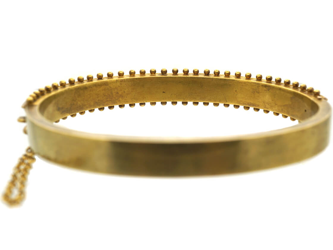 Victorian 15ct Gold Bangle with Flower Motifs