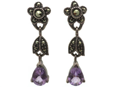 Silver, Amethyst & Marcasite Flower Drop Earrings