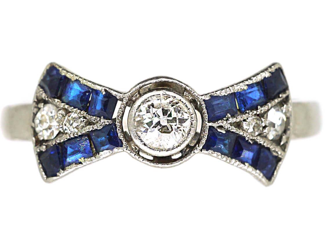 Art Deco Platinum Diamond & Sapphire Bow Ring