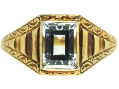 Art Deco 14ct Gold & Aquamarine Ring