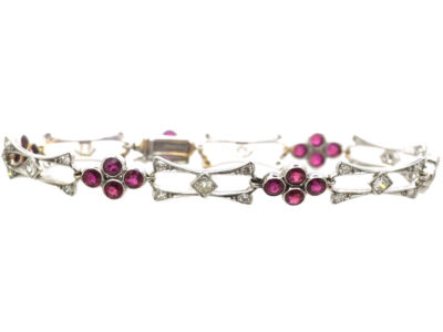 Edwardian 18ct White Gold, Ruby & Diamond Bracelet