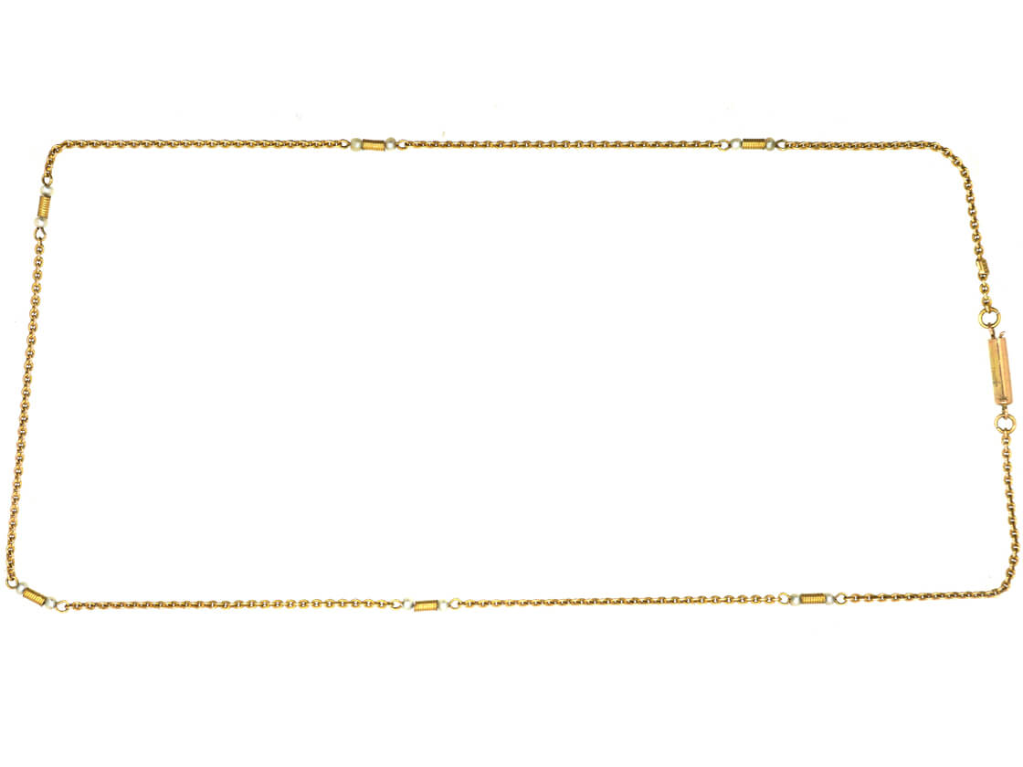 Edwardian 9ct Gold & Natural Pearls Chain
