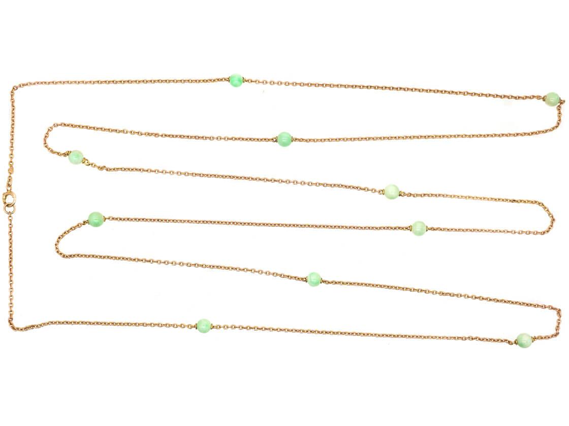 Art Deco 9ct Gold & Jade Chain