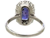 Art Deco 18ct White Gold & Colour Change Sapphire & Diamond Rectangular Cluster Ring