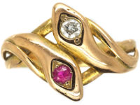 Edwardian 14ct Gold Double Snake Ring set with a Ruby & Diamond