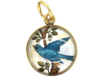 Edwardian 18ct Gold Reverse Intaglio Rock Crystal Pendant of a Bluebird