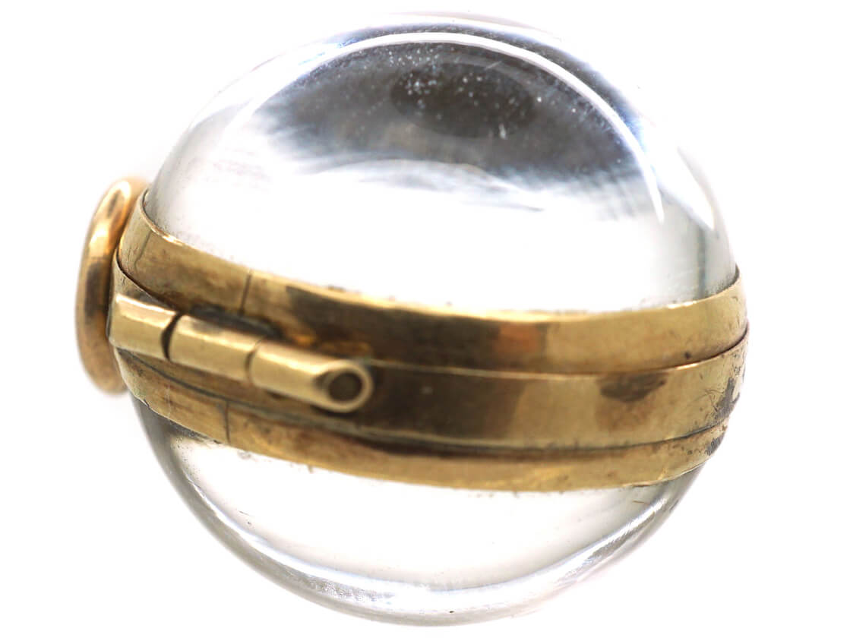 Victorian 9ct Gold & Rock Crystal Round Locket