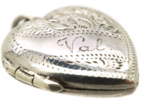 Silver Heart Shaped Locket Engraved with the name Val