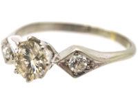 Art Deco 18ct White Gold Three Stone Diamond Ring