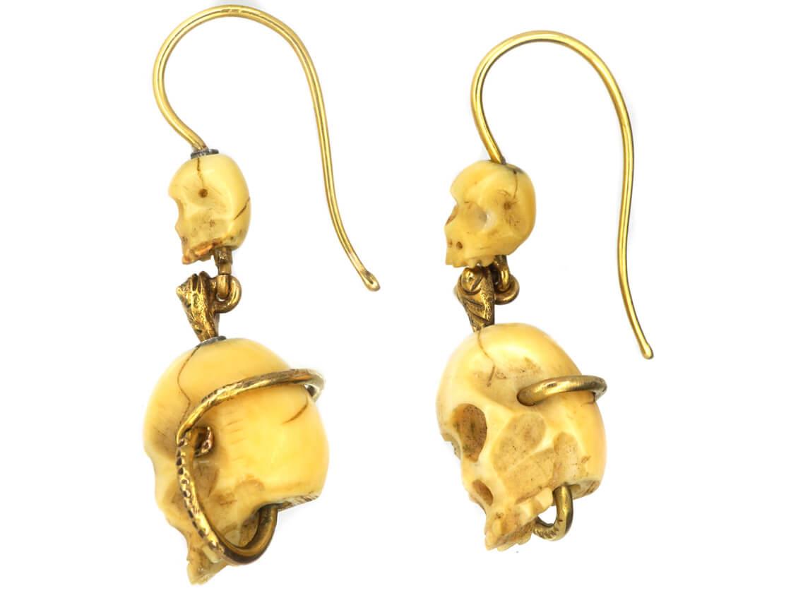 Victorian Bone Skull & Gold Snake Earrings