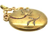Art Nouveau 18ct Gold Locket with Eagle's Head & Leaf Motif