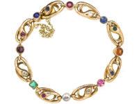 French Belle Epoque 18ct Gold & Gem Set Snakes Bracelet