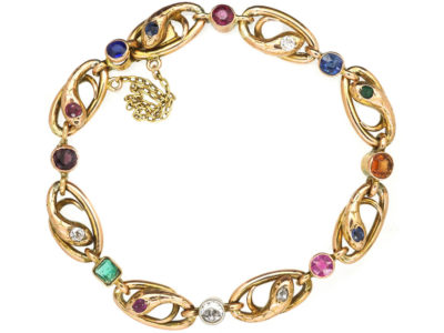 French Belle Epoque 18ct Gold & Gem Set Snakes Bracelet
