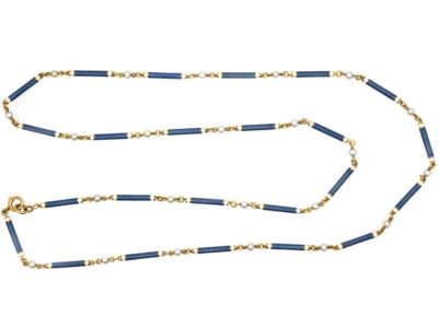 French Belle Epoque 18ct Gold, Blue & White Enamel & Natural Pearls Chain