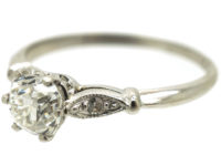Edwardian Platinum & Diamond Solitaire Ring with Diamond Shoulders