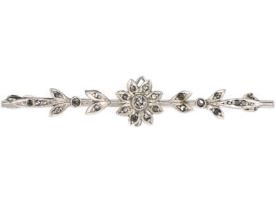 Edwardian Platinum Flower & Leaves Brooch