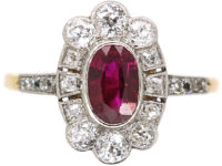 Edwardian 18ct Gold & Platinum, Ruby & Diamond Oval Cluster Ring with Diamond Set Shoulders