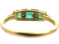 Art Deco 18ct Gold, Emerald & Diamond Ring Three Stone Ring