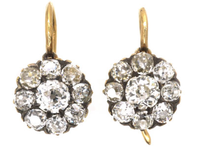 Edwardian 18ct Gold Diamond Cluster Earrings