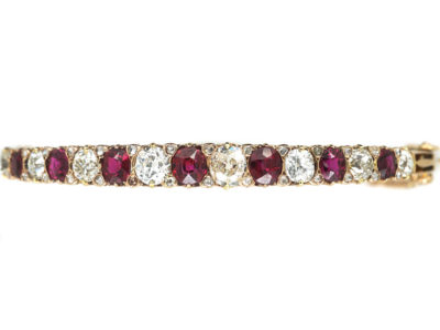 Victorian 15ct Gold, Ruby & Diamond Bangle