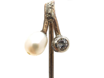 Edwardian 9ct Gold Diamond & Pearl Sprig Tie Pin