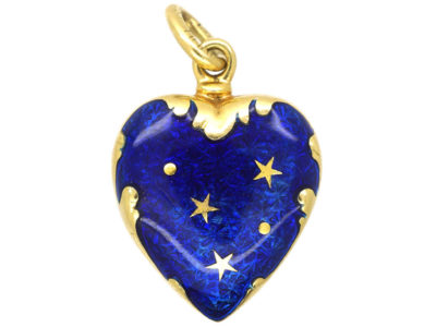18ct Gold & Blue Enamel Heart Shaped Pendant by Fabergé
