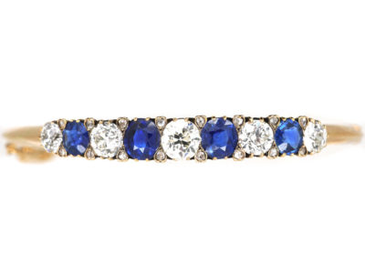 Swedish 18ct Gold Sapphire & Diamond Bangle