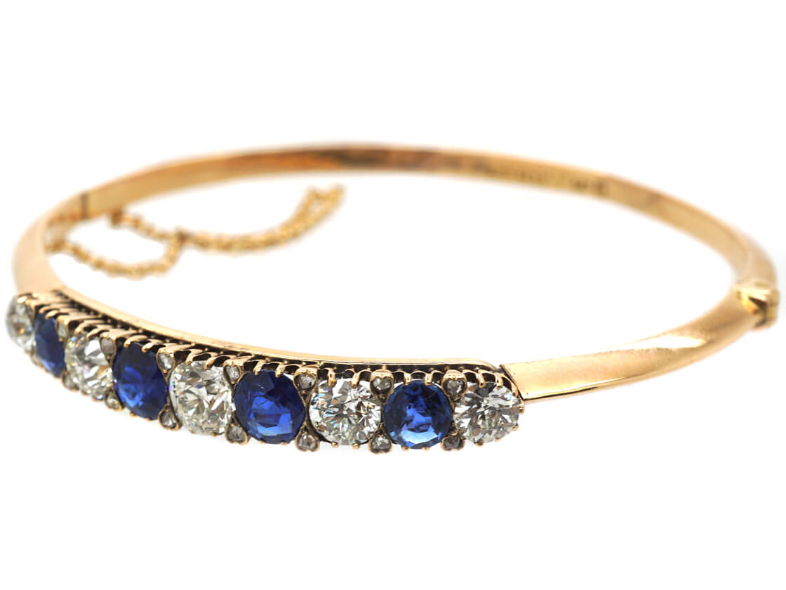 Swedish 18ct Gold Sapphire & Diamond Bangle