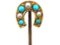 Edwardian 15ct Gold, Turquoise & Natural Split Pearl Horseshoe Tie Pin