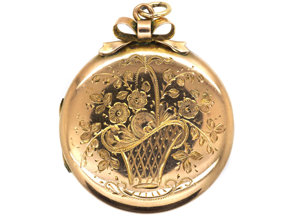 Edwardian 9ct Back & Front Round Locket with Engraved Flowers in Basket