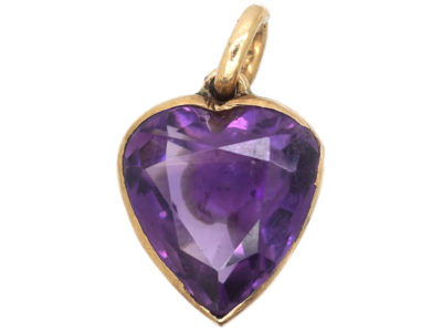 Edwardian 9ct Gold Amethyst Heart Shaped Pendant