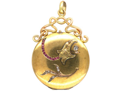 Art Nouveau 18ct Gold Locket with Eagle's Headc & Leaf Motif