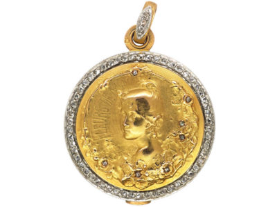 French 18ct Gold & Rose Diamond Art Nouveau Locket of a Lady by L Janvier