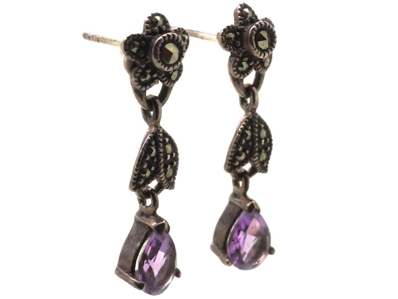 Silver, Amethyst & Marcasite Flower Drop Earrings
