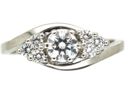 Diamond Single Stone Diamond Ring with Diamonds on Either Side