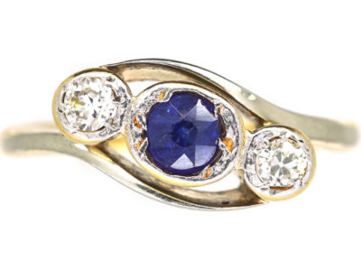 Edwardian 18ct Gold & Platinum, Sapphire & Diamond Crossover Ring