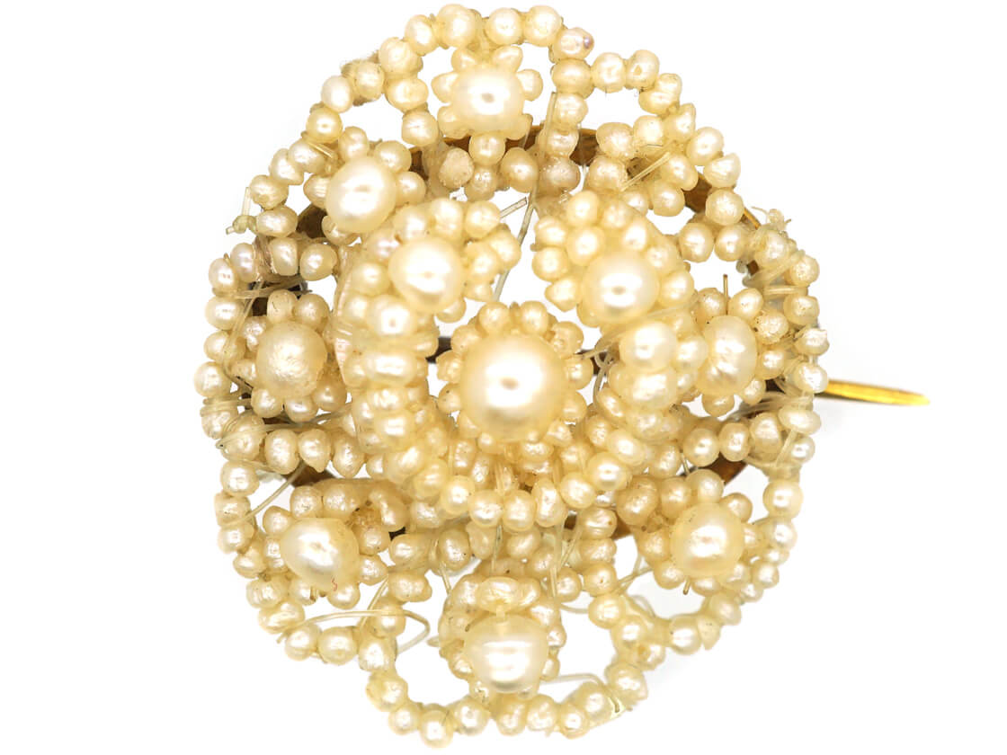 Regency Small Natural Pearl Lace Brooch