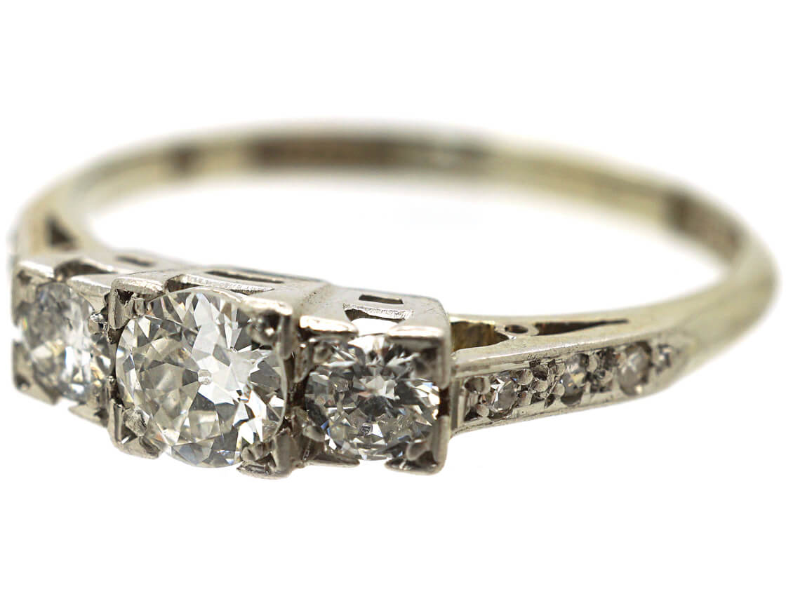 Edwardian Three Stone Diamond Ring with Diamond Set Shoulders