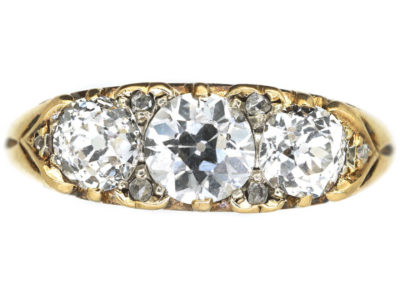 Victorian 18ct Gold, Three Stone Carved Half Hoop Diamond Ring