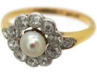 Edwardian 18ct Gold & Platinum, Natural Pearl & Diamond Cluster Ring