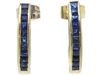 18ct White Gold & Sapphire Half Hoop Earrings