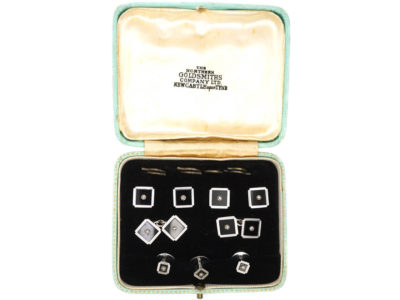 9ct White Gold & Diamond Dress Set in Original Case