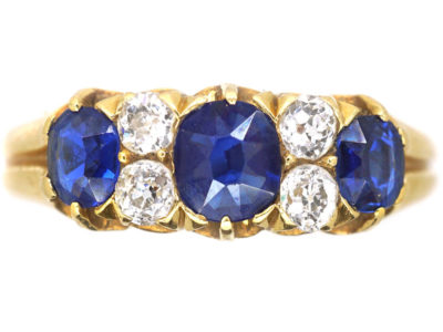 Victorian 18ct Gold Three Stone Sapphire & Diamond Ring