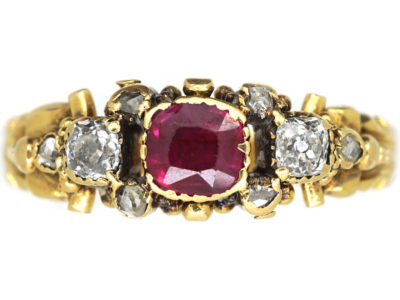 Georgian 18ct Gold, Ruby & Diamond Ring