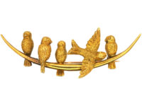 Edwardian 15ct Gold Swallows on a Crescent Moon Brooch