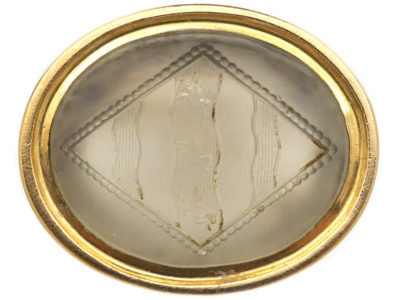 Georgian 15ct Gold & Chalcedony Seal with an Intaglio of a Crest