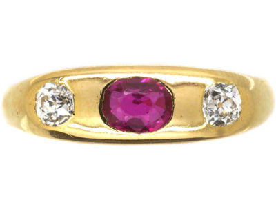Edwardian 18ct Gold, Ruby & Diamond Rub Over Set Ring