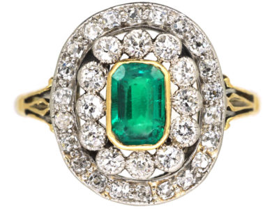 Edwardian Platinum & 18ct Gold, Emerald & Diamond Oval Cluster Ring