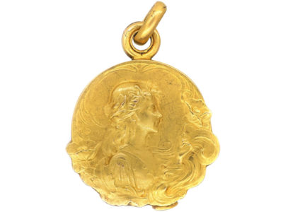 French Art Nouveau 18ct Gold Locket Pendant By Dropsy